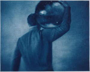 """Shouldering Sky, 2011. Cyanotype Print with Digital Drawing. 13.7"""" x 17"""". Limited edition of 12."""