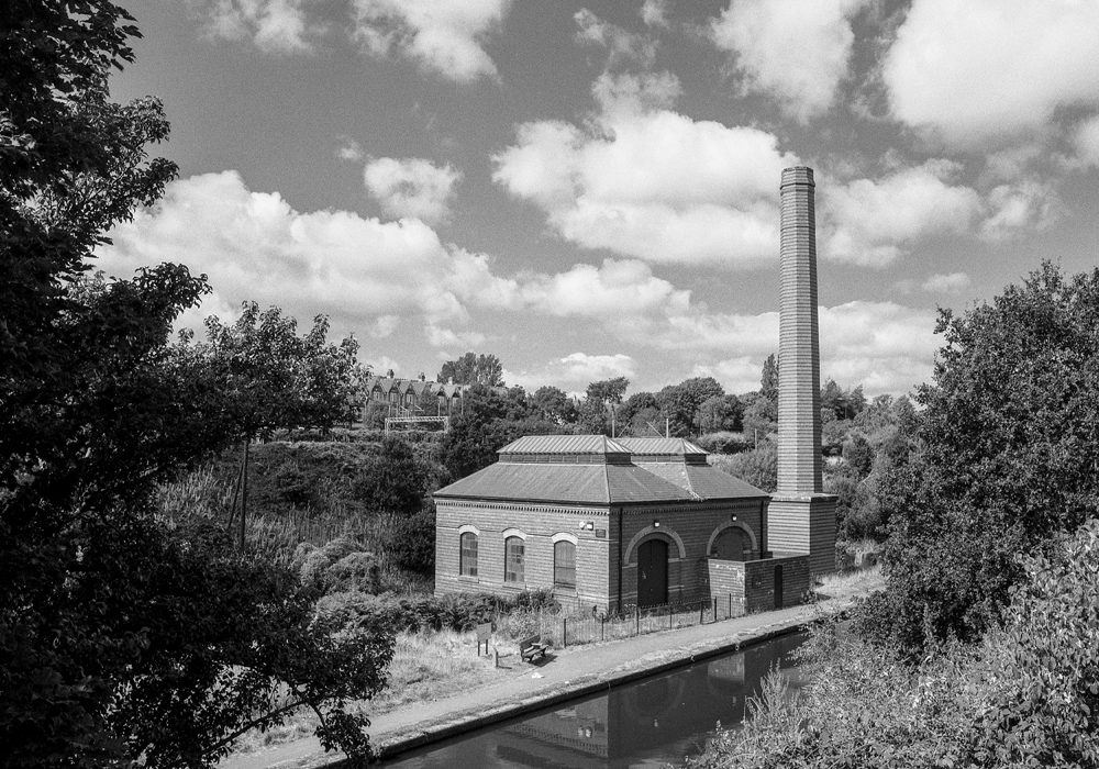 "Smethwick New Pumping Station, Birmingham Canal, Birmingham Level   Grade II listed building on the Birmingham Canal, Smethwick.   Part of a set of images from my 2011 project, ""A Picture of Smethwick', showing the listed buildings in Smethwick.   Image taken on black and white film, scanned from original negative."