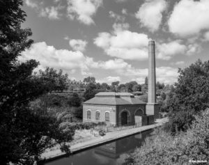 """Smethwick New Pumping Station, Birmingham Canal, Birmingham Level Grade II listed building on the Birmingham Canal, Smethwick. Part of a set of images from my 2011 project, """"A Picture of Smethwick', showing the listed buildings in Smethwick. Image taken on black and white film, scanned from original negative."""